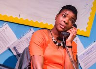 Once upon a time, before Twitter, the telephone was used as a tool to communicate joy. School Play at Southwark Playhouse. Photo: Tristram Kenton