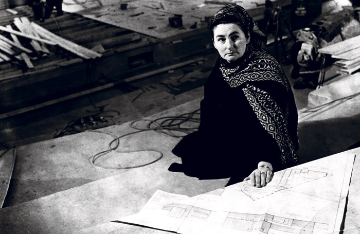 lyric belfast Mary O'Malley with blueprints for the new theatre in 1968
