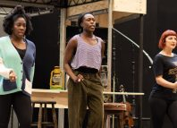 Carly Mercedes Dyer, Gloria Onitiri and Rosie Fletcher in rehearsals for Hadestown at the National Theatre. Photo: Helen Maybanks