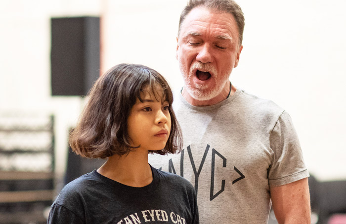 Eva Noblezada and Patrick Page in rehearsal for Hadestown, which opens at the National Theatre in November. Photo: Helen Maybanks
