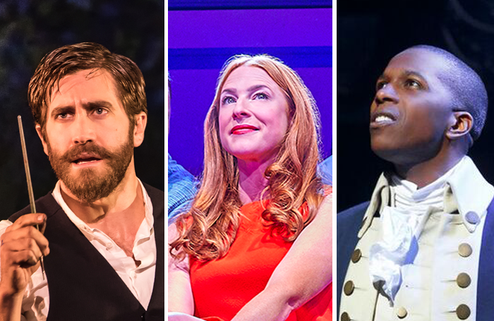 Jake Gyllenhaal in Sunday in the Park with George, Rosalie Craig in Company and Leslie Odom Jr in Hamilton. Photos: Brinkhoff/Mogenburg and Matthew Murphy