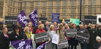 Equity, the Musicians' Union and Parents and Carers in Performing Arts attended a rally outside parliament ahead of the Shared Parental Leave Pay (Extension) Bill's second reading on October 26, 2018