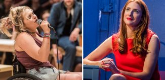 Ali Stroker in Oklahoma! (left) and Rosalie Craig in Company (right). Photos: Teddy Wolff/Tristram Kenton