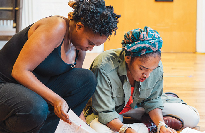 Nicola Alexis and Cherelle Skeete in rehearsal for A Small Place. Photo: Helen Murray