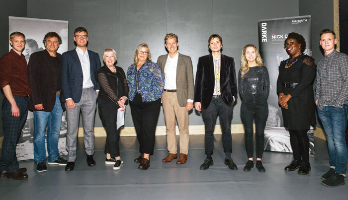 Shortlisted playwrights Allan Payne, William Downs and Skot Wilson, Falmouth University's Terrie Fender, award founder Jane Darke, Geoff Smith (Falmouth University), Max Wilkinson (shortlist), Lydia Marchant (shortlist), Sandra Brown Springer (shortlist) and Andrew Sheridan (shortlist). Photo: Ben Perry