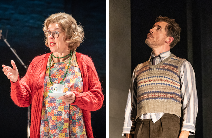 Janie Dee in Pinter Four and Lee Evans in Pinter Three. Photos: Marc Brenner