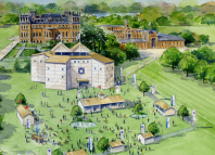 Colour illustration of the pop-up Shakespeare theatre at Blenheim Palace