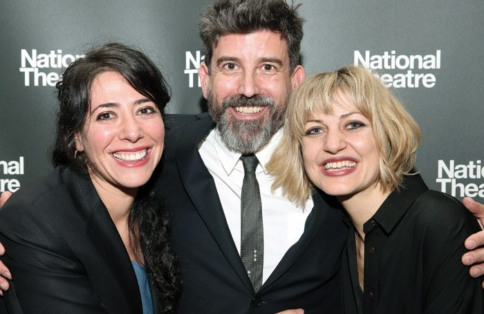 Director Rachel Chavkin, choreographer David Neumann and writer Anais Mitchell at the Hadestown press night at the National Theatre. Photo: Lia Chang