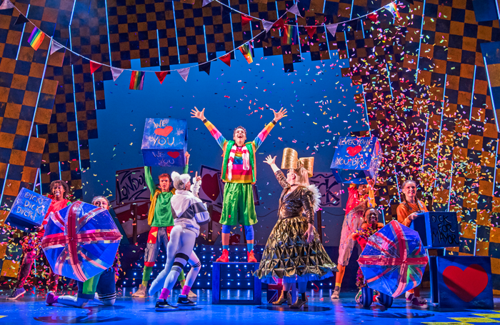 Luke Latchman and cast in Dick Whittington at Lyric Hammersmith. Photo: Tristram Kenton