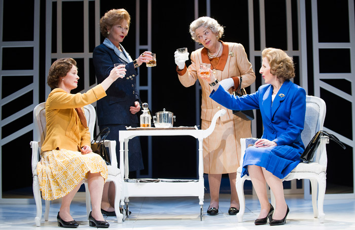 Clare Holman, Stella Gonet, Marion Bailey and  Fenella Woolgar in Handbagged at the Tricycle in 2013. Photo: Tristram Kenton