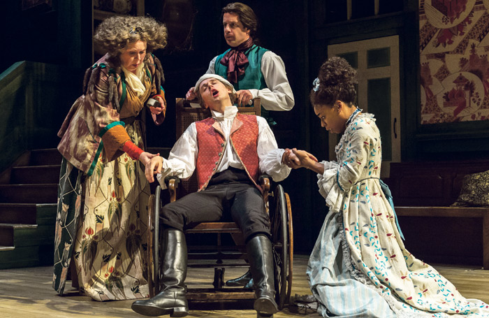 Jane Booker, Samuel Barnett, Geoffrey Streatfeild and Pippa Bennett-Warner in The Beaux' Stratagem at the Lyttelton, National Theatre (2015). Photo: Manuel Harlan