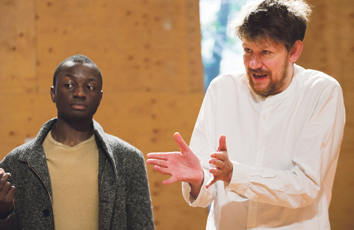 Anton Cross and Simon Godwin in rehearsals for Timon of Athens. Photo: Simon Annand
