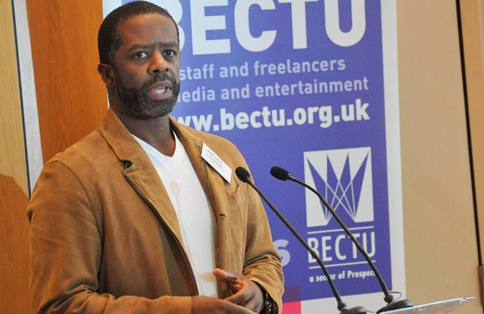 Actor Adrian Lester speaking at the launch of the BECTU's Theatre Diversity Action Plan initiative. Photo: Mark Dimmock