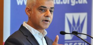 Sadiq Khan speaking at the launch of the BECTU's Theatre Diversity Action Plan initiative. Photo: Mark Dimmock