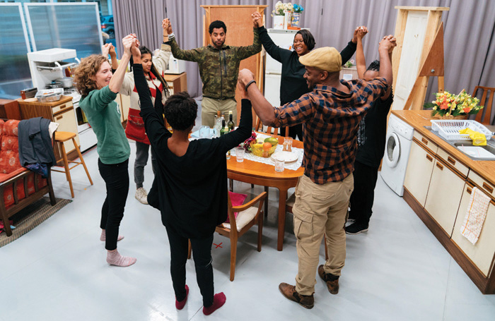 The Full Company in rehearsals for Nine Night. Photo: Helen Murray