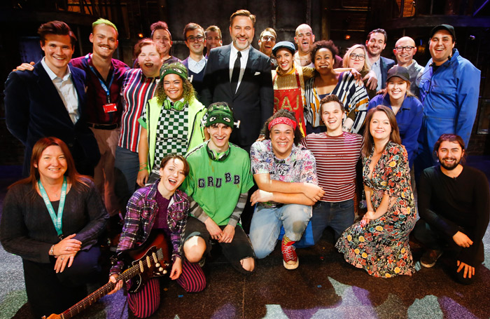 Billionaire Boy cast and crew with David Walliams (centre) at NSt City. Photo: Luke MacGregor