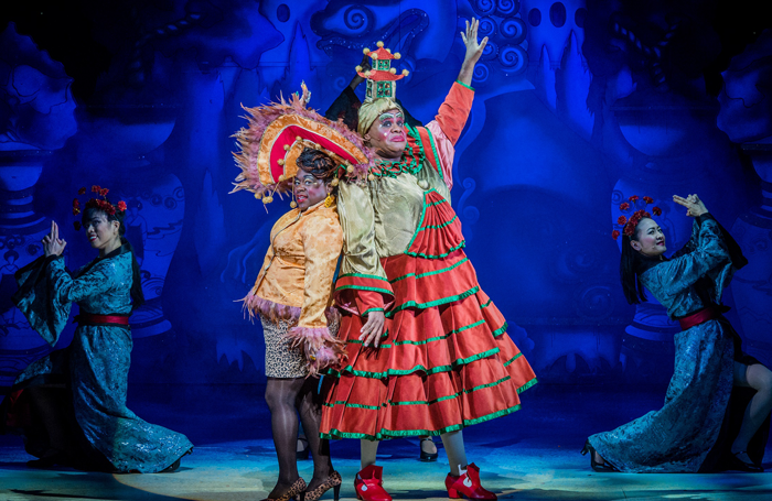 Tameka Empson and Clive Rowe in Hackney Empire Aladdin. Photo: Robert Workman