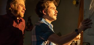Johnny Flynn and Kit Harington in True West at Vaudeville Theatre. Photo: Marc Brenner