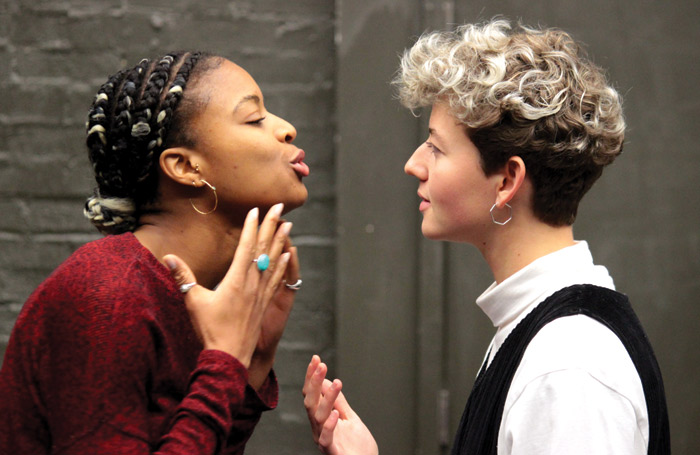 Racheal Ofori and Ellen Robertson in rehearsals for Snowflake. Photo: Cate Nunn