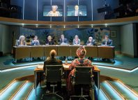 The cast of Committee, a play staged at the Donmar Warehouse last year, which was based on the Parliamentary transcript of the 2015 inquiry into the collapse of the charity Kids Company. Photo: Manuel Harlan