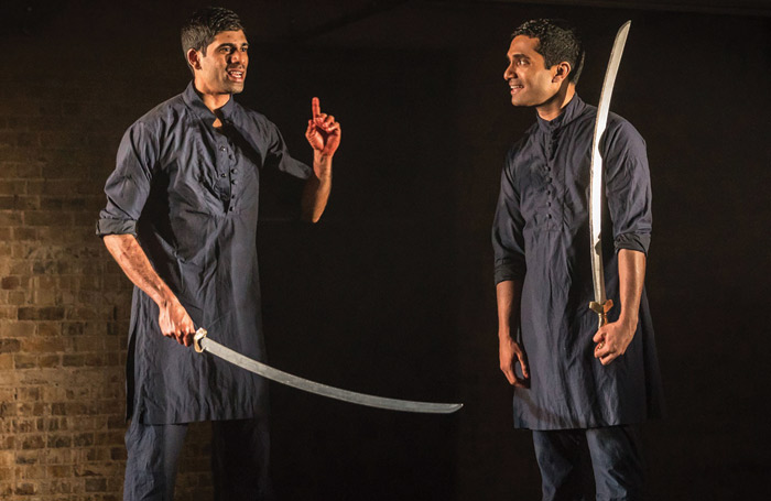 Darren Kuppan and Danny Ashok in Rajiv Joseph's Obie award-winning Guards at the Taj developed at the Lark, here staged at London's Bush Theatre in 2017. Photo: Marc Brenner