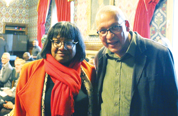 Shadow home secretary Diane Abbott with writer Gabriel Gbadamosi at the opening night of the Arcola Theatre production. Photo: Ankesh Shah