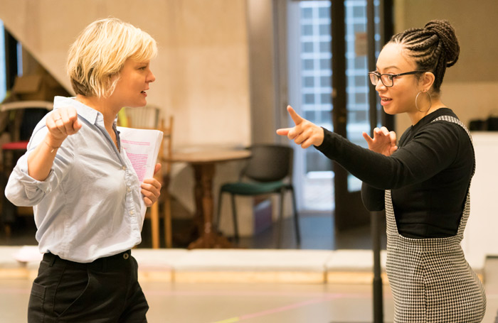 Martha Plimpton and Lynette Linton in rehearsals for Sweat at the Donmar Warehouse. Photo: Johan Persson