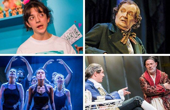 Clockwise from top left: My Mum's a Twat at the Royal Court Upstairs, Jim Broadbent in A Very Very Very Dark Matter, Mark Umbers and Keith Allen in Hogarth's Progress and Dance Nation at at Almeida Theatre.Photos: Tristam Kenton/Manuel Harlan/Marc Brenner