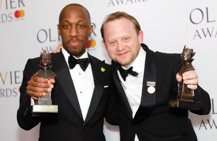 Giles Terera and Michael Jibson at the Oliviers earlier this year. Photo: Pamela Raith