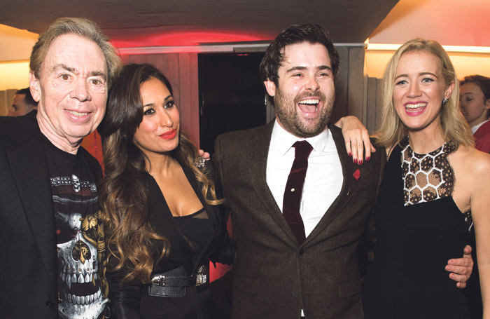 Andrew Lloyd Webber, Preeya Kalidas, David Fynn and Florence Andrews at the opening night of School of Rock at the Gillian Lynne Theatre in 2016. Photo: Craig Sugden