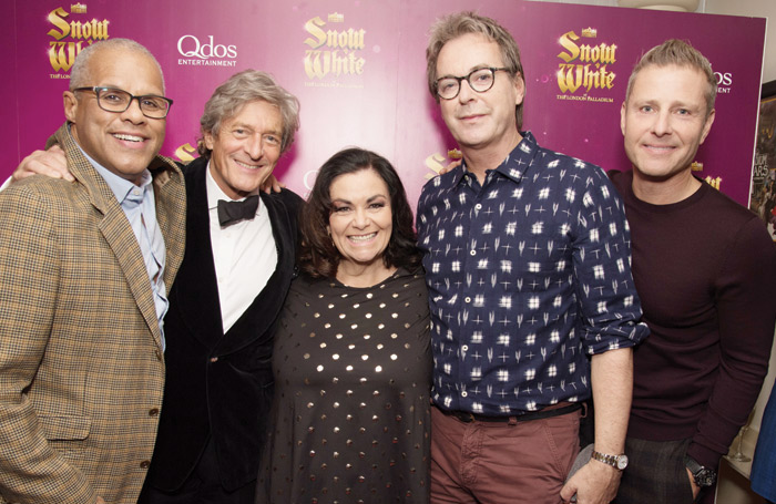 Cast members Gary Wilmot, Nigel Havers, Dawn French, Julian Clary and Paul Zerdin at the Snow White press night at the Palladium. Photo: Craig Sugden