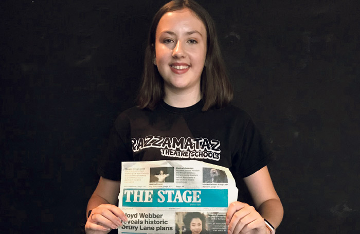 Imogen Rogers, a student with Razzamataz Weymouth who was one of the winners of The Stage Scholarships in 2018