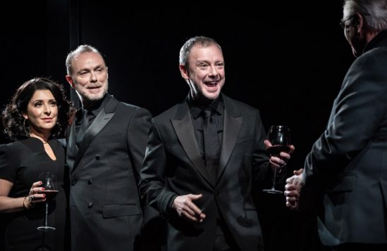 Tracy Ann Oberman, Gary Kemp, John Simm and Phil Davis in Pinter Six. Photo: Marc Brenner