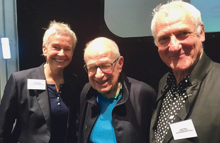 LIMF artistic directors Helen Lannaghan and Joseph Seelig with Peter Brook (centre)
