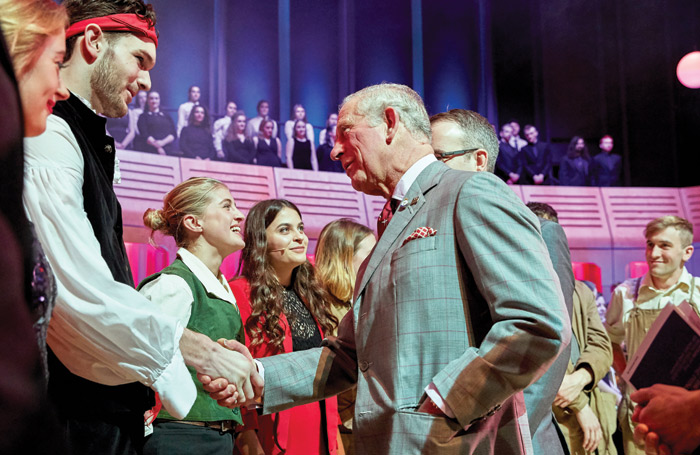 Prince Charles meets students at Royal Welsh College of Music and Drama. Photo: Ethos Media