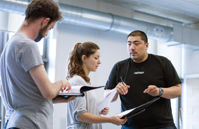 LAMDA students on the MA directors course in rehearsal. Photo: Sam R Taylor