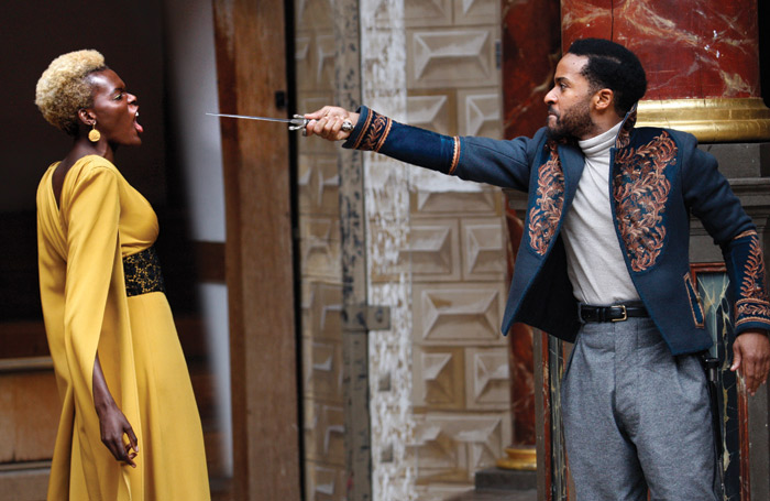 Atim with Andre Holland in Othello at Shakespeare's Globe (2018). Photo: Simon Annand