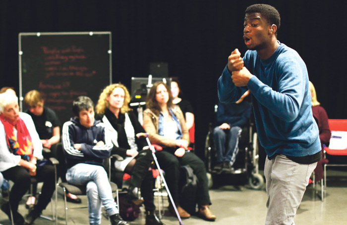 Graeae Ensemble graduate Jamal Ajala, taking part in the programme. Photo: Becky Bailey