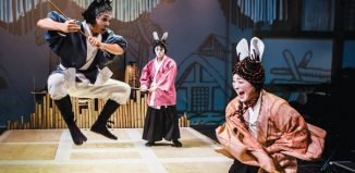 Jonathan Raggett, Siu Hun Li and Amy Ip in Usagi Yojimbo at Southwark Playhouse (2014). Photo: Richard Davenport