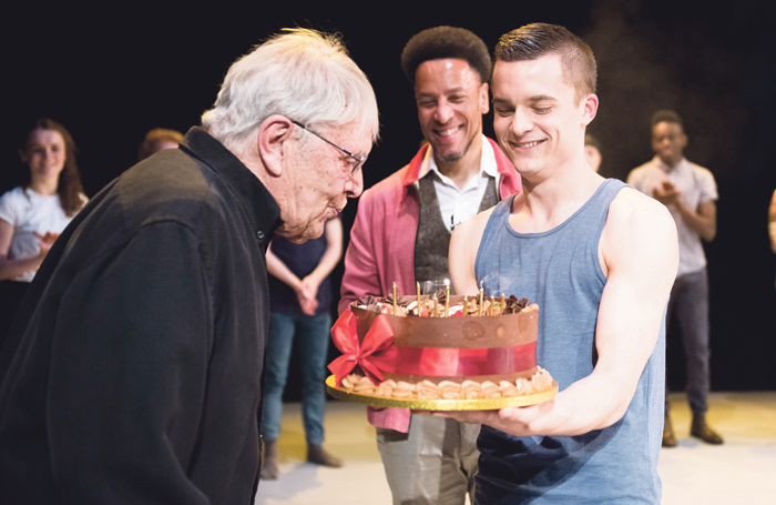 90th-birthday celebrations for Cohan in 2015, with cake presented by dancer Liam Riddick and the Place chief executive Kenneth Tharp. Photo: Camilla Greenwell