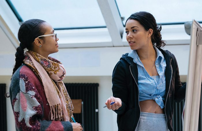 Jade Lewis and Nicole Lecky in Superhoe rehearsals. Photo: Helen Murray