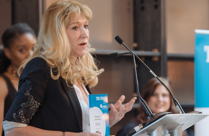 Sonia Friedman speaking at The Stage Awards. Photo: David Monteith-Hodge
