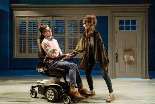Jack Hunter and Emily Barber in The Cost of Living at London's Hampstead Theatre, which features an actor with cerebral palsy and a quadriplegic actor – as specified by its playwright. Photo: Manuel Harlan