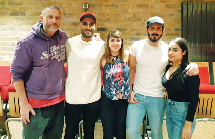 Cast members Jonathan Brown, Hamza Siddique, Erin Elkin, Vincent Kerschbaum and Natali Servat at the press night in London. Photo: Mobius Industries