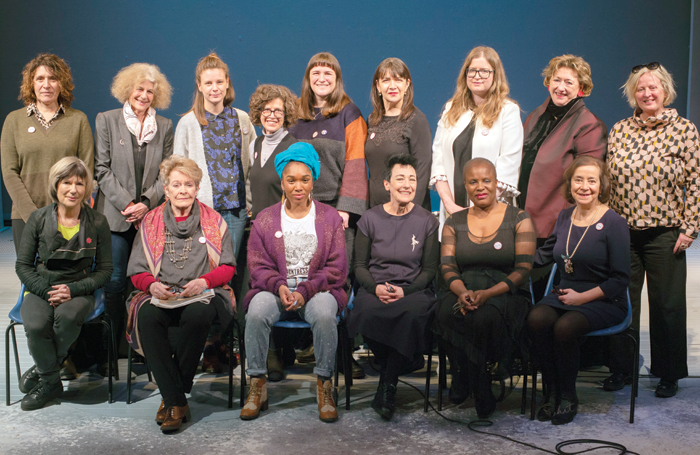Panellists – back row: April de Angelis, Timberlake Wertenbaker, Rebecca Frecknall, Susannah Kraft Levene, Morgan Lloyd Malcolm, Maureen Beattie, Jennifer Tuckett, Rosemary Squire and Jenny Sealey. Front: Jude Kelly, Janet Suzman, Cherrelle Skeete, Sue Parrish, Winsome Pinnock and Toni Racklin. Photo: Barbora Cetlova