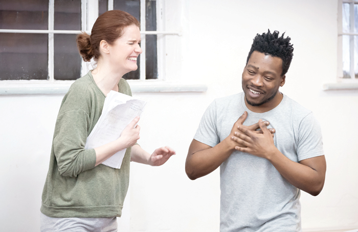 Justine Mitchell and Fisayo Akinade in rehearsals for Shipwreck. Photo: Marc Brenner