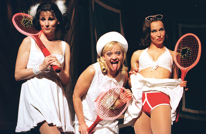 Riding (far right) with Lucie Arnaz and Maria Friedman in The Witches of Eastwick at Theatre Royal Drury Lane in 2000. Photo: Tristram Kenton