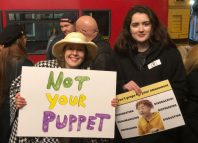 Protesters outside Southwark Playhouse