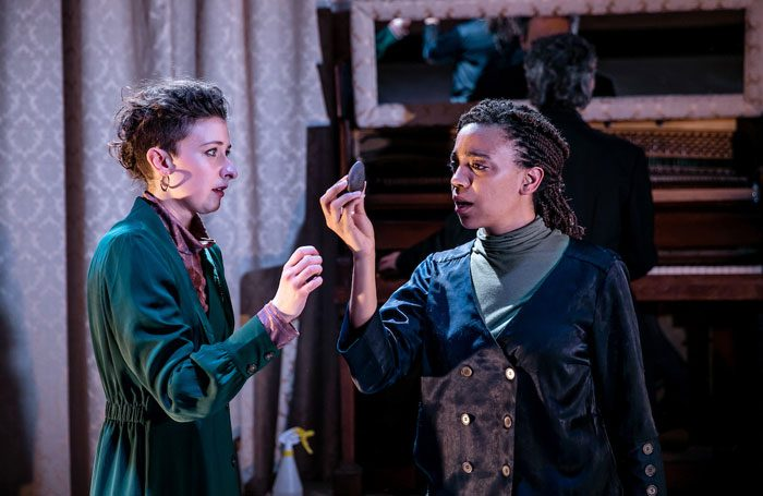 Sophie Steer and Janet Etuk in Dinomania at New Diorama Theatre. Photo: The Other Richard