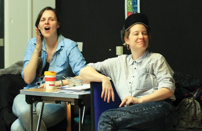 Deborah Pearson and Stacey Gregg in rehearsals for Inside Bitch at the Royal Court. Photo: Jemima Yong